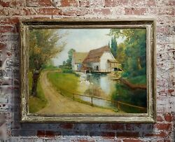 Paul Tritsche -old Cottage By The River-beautiful 19th Century Oil Painting