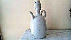 VERY RARE ANTIQUE CHINESE LIGHT GREEN CELADON PORCELAIN PITCHER W MAN DESIGN