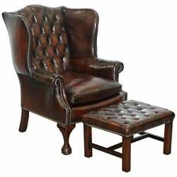 Made In England Chesterfield Leather Wingback Claw And Ball Armchair + Footstool