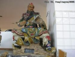 25 Chinese Pottery Wucai Porcelain Sit Dragon Guan Gong Read Book Knight Statue