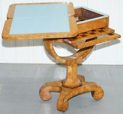 RARE BIEDERMEIER BURR SATINWOOD VICTORIAN GAMES TABLE FOR CHESS CARDS FOLD OUT