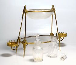 Antique Vanity Dore Glass Perfume Bottle Set Jewerly Trinket Bowl Gold Plated