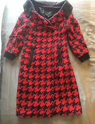 Donna Karan Collection Black Label Wool Cashmere Coat Houndstooth Red Sz 2 Dkny