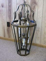 Vintage Mcm Colonial Ceiling Light Brass Lantern Hanging Pendant Fixture 40-in