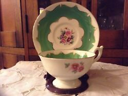 Coalport Wide Mouth With Green Panels Bone China Tea Cup And Saucer