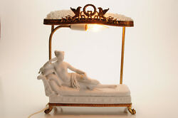 19th C. French Boudoir Table Lamp Reclining Paolina Borghese After Canova