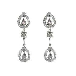 Solid 18k White Gold Natural Diamond Dangle Earrings Wedding Gift Jewelry 3.1ct
