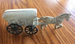 Antique Decorative Metal Cast Iron Toy Ice Wagon Horse And Carriage Wheels Work