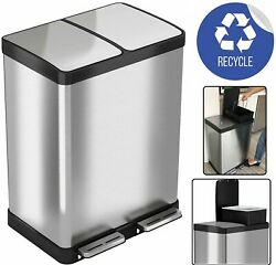 16gal Trash Can Recycle Bin Touchless Soft Step Dual Compartment Stainless Steel