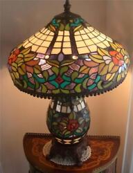 Stain Glass Table Lamp With Night Light