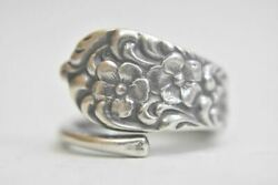 Flowers Spoon Ring Forget Me Not Band Sterling Silver Thumb Band Women Girls S