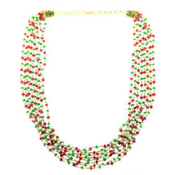 84.48ct Gemstone 22kt Solid Yellow Gold Designer Beaded Necklace Fashion Jewelry