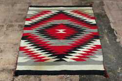 Navajo C,1930s Native American Hand Made Rug W/intricate White Red And Black