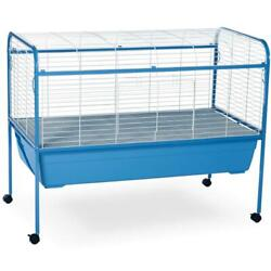 Prevue Small Animal Rabbit Guinea Pig Cage 47l With Deep Pan Wheeled Stand