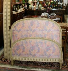 Antique French Painted And Upholstered Louis Xvi Day Bed And Rails 1880