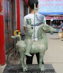 China Dynasty Old Bronze Silver-gilt Palace Soldier Cavalry Warrior Horse Statue