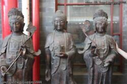 72 Tibet Bronze Buddhism Three Saints of the West Tathagata kwan-Yin Buddha Set