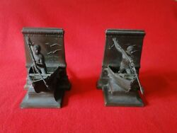 Vintage Jennings Brothers Bronze Metalware New Bedford Whale Men Bookends