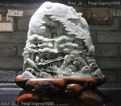 Chinese Dushan Jade Old Man Visit A Friends Mountain Water Landscape Sculpture