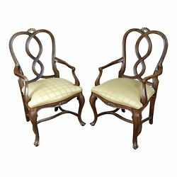 Traditional English Style Carved Armchairs -a Pair