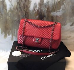 Rare Chanel Red Jumbo Crossing Chevron Flap Bag - Excellent!!!