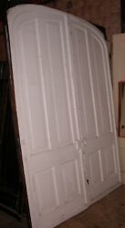 1850's 4 Panel 8' 5 X 6' 2 Foot Salvaged Walnut Set Of Arched Pocket Doors