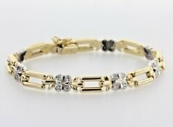 18k Yellow And White Gold Alternating Clover Flower And Bar Link Cz Bracelet 7.25