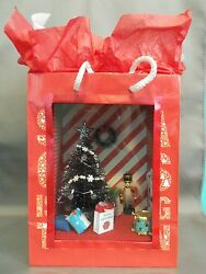 Dollhouse Miniature Santa Claus Is Coming To Town Roombox Scenario In A Gift Bag