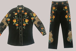 SALE Vintage Western Suit TOURNAMENT OF ROSES Vaquero label Two Piece Embroid