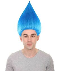 Blue Straight Full Wig Men Cosplay Halloween Party Trolls Hairdo Stand Up HM-075
