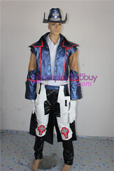 Gungrave Brandon Heat Cosplay Costume Faux Leather Made Include Hat