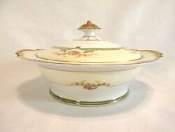Noritake Floreal Covered Vegetable Dish Flowers Gold Trim 76839 Discontinued