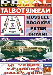 Decal Talbot Sunbeam Lotus R.brookes Ypres 24 Hours R. 1980 Dnf 01