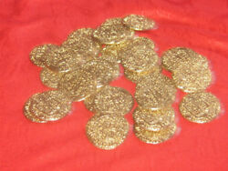 Wholesale Lot Of 25 Pcs- 32mm Gold Tone Solid Pewter Pirate Coins 14 Grams Each