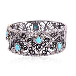 3.2 Ct Turquoise Pave Diamond Women Bangle 18kt Gold 925 Sterling Silver Jewelry