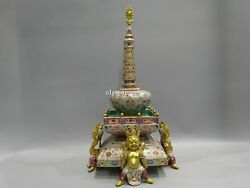 18''chinese wucai porcelain gold drawing flowers and plants four buddha pagoda