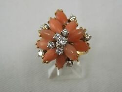 Coral And Diamond Floral Cluster Fashion Ring In 18k Yellow Gold