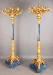 CYBER WEEK! $125K MAGNIFICENT PALACIAL BRONZE LAPIS LAZULI TORCHIERS CANDLEABRAS