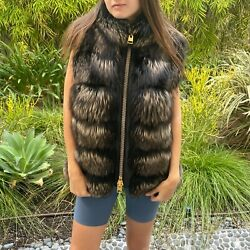 Tom Ford Silver Fox Fur And Black Leather Gold Zipper High Neck Vest - Us 6