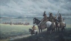 Ronald Himler Amer.b.1937 Indians And Cavalry Oil On Canvas Painting