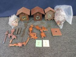 3 Vintage Cuckoo Clock Germany Wall Part Weights Movement Restore Parts