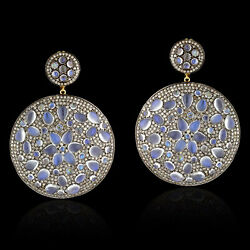 Moonstone 10.36ct Pave Diamond Round Shape Dangle Earrings Gold Silver Jewelry