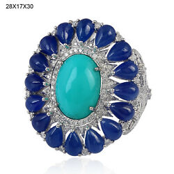 14.61ct Blue Sapphire Turquoise Diamond Cocktail Ring 18kt White Gold Jewelry
