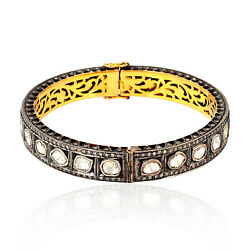 5.24ct Diamond 14k Gold 925 Sterling Silver Vintage Look Bangle Pave Jewelry