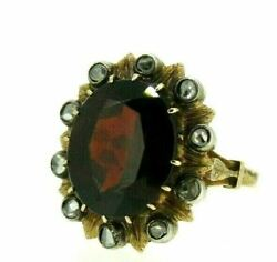 Ring Antique Gold 18 Carats Daisy With Diamonds And Garnet Vintage Years' 10