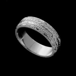Hand Engraved Two Patterns Milgrain Rounded Wedding Ring 6.5mm Wide 14k Gold