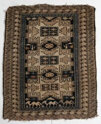 Antique Caucasian Small Throw Rug, Wool Pile, Geometric And Pictorials In Browns
