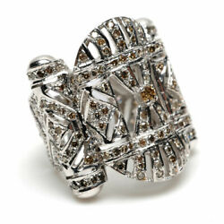 2.15ct Pave Diamond 18kt Solid White Gold Ring Vintage Look Jewelry