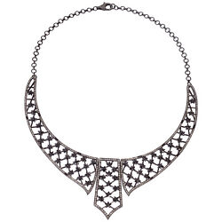 10.6ct Pave Diamond 18k Gold 925 Sterling Silver Collar Necklace Fashion Jewelry