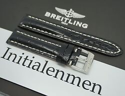 Breitling Croco Black 728p 20/18 Strap Band 100 Original And New Tang Buckle
